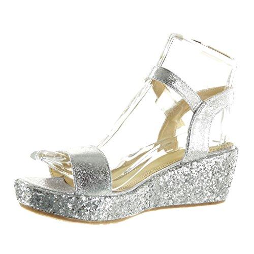 Angkorly Damen Schuhe Sandalen Mule - Plateauschuhe - String Tanga - Glitzer - Glänzende Keilabsatz High Heel 6 cm Silber