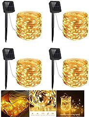 Gluckluz Solar String Lights 200 LED Outdoor Copper Wire Light Fairy Lighting Waterproof Starry Decoration Lig