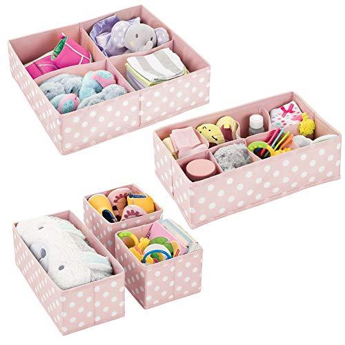 mDesign Set da 5 Scatole portaoggetti e porta giochi con diversi scomparti – Scatole per armadi ideali per organizzare gli accessori nelle camerette per bambini – rosa chiaro e bianco - 8