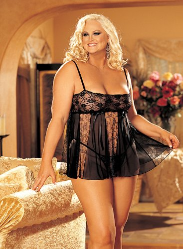 Shirley of Hollywood Nummer 96120 Queen Größe schwarz Stretch Spitze und Sheer Net Babydoll (Net Sheer Of Shirley Hollywood)