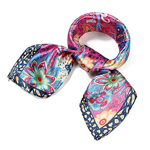UK_Stone Damen Retro Paisley Blumen Muster Gross Bandana Schal (Die Flugbegleiterin Kostüm Damen 60)