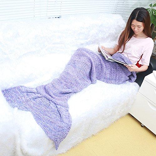Meerjungfrau Decke Bay Sands Clover, handgemachte Mermaid Schwanz Stil Blanket Sofa Schlafdecke, Haushaltsartikel Schlafdecke, weiche Mermaid Schwanz Schlafsack für Kinder und Erwachsene 70,87 Zoll * 31,5 Zoll (Lila)