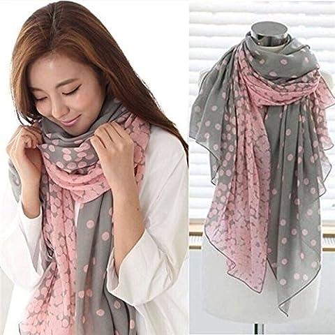 8M Mode Femmes Filles Pois voile longue écharpe châle Wrap Foulard, gris