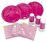 HEKU 30005-26 Einweg-Party-Set mit Tellern, Bechern und Servietten, 120-teilig, rosa