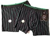 2 x Boxershorts, schwarz gestreift, (8)