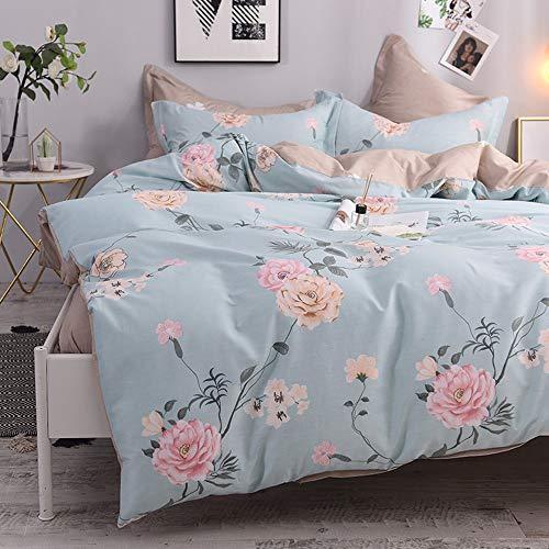 dfsgrfvf Bettwäsche-Set Leaves Flowers Print Bettlaken Kissenbezug Bettbezug-Set 100% Baumwolle Twin Queen Double Size Kinder Mädchen Bettwäsche-Set Pillowcase-in Bettwäsche-Sets