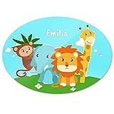 Türschild mit Namen Emilia und schönem Tier-Motiv mit Affe, Elefant, Löwe und Giraffe für Mädchen   Kinderzimmer-Schild