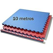 10 m. Cuadrados de tatami (rojo/azul) de grosor 2 cm.
