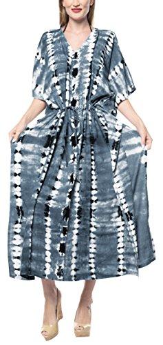 LA LEELA Damen Rayon überdimensional Maxi Tie Dye Kimono Kaftan Tunika Kaftan Damen Top Freie Größe Loungewear Urlaub Nachtwäsche Strand jeden Tag Kleider Grau_F692 -