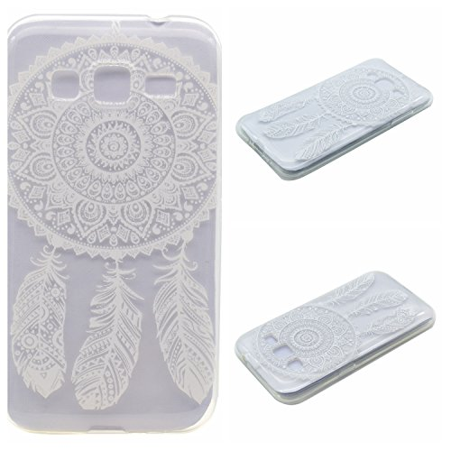 Qiaogle Téléphone Coque - Soft TPU Silicone Housse Coque Etui Case Cover pour Apple iPhone 5 / 5G / 5S / 5SE (4.0 Pouce) - XX25 / Don't Touch Me XX18 / Blanc Dream Catcher