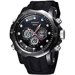 BOAMIGO Luminous Alarm Week 50M Waterproof Quartz Digital Mens Watch (Gun Black Black)