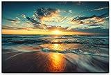 bestforhome 120x80cm Leinwandbild Sonnenuntergang am Strand Leinwand auf Holzrahmen