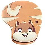 Demarkt Mauspad Ergonomisches Komfort Mauspad mit Handauflage aus Gel,Braun Eichhörnchen