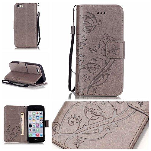 iPhone Case Cover IPhone 5C Folio Flip Stand Case, étui de portefeuille avec trésorerie et fente de carte Premium PU Housse en Silicone en cuir pour iPhone 5C ( Color : Red , Size : IPhone 5C ) Gray