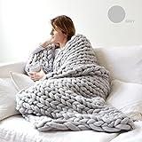 Decdeal - Manta gruesa tejida hecha a mano hecha punto grueso manta tejida gruesa del punto para la sala de estar del dormitorio