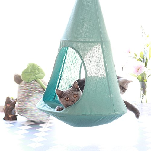HAOBAO Cat Hängematte Hängende Art Kätzchen Bett Abnehmbare Haustier Leinen Sling Attic Mehrzweck Breathable Loft für Sommer Leben, Mint Green -