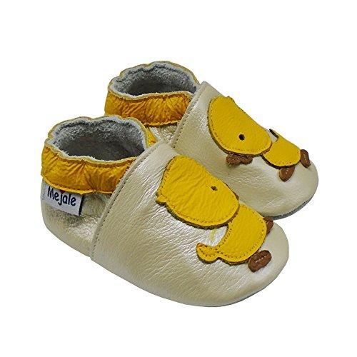 Mejale Chaussons Cuir Souple Chaussures Cuir Souple Chaussons enfants pantoufles Chaussures Premiers Pas dessin animé canard Beige nacré