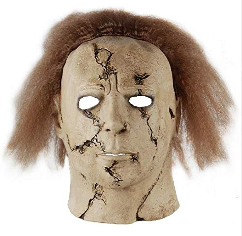 WasJmu Hot Movie Cos Mask Horror Michael Myers Mask Scary Movie Halloween Cosplay Adult Latex Party Face Mask Scary Film Mask Toy,as The Picture