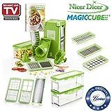 Genius Nicer Dicer Magic Cube | 23 Teile | Obstschneider | Zwiebelschneider | Gemüseschneider | Allesschneider | Gemüsehobel | Bekannt aus TV | NEU