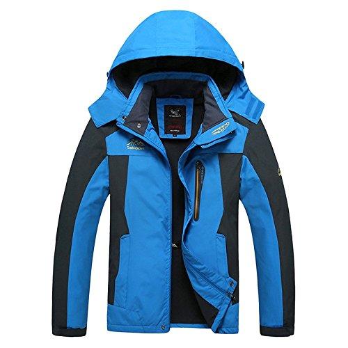 Nihiug giacca outdoor da uomo trekking leggero softshell con cappuccio singolo strato antivento caldo autunno e sport invernali alpinismo,blue-2xl