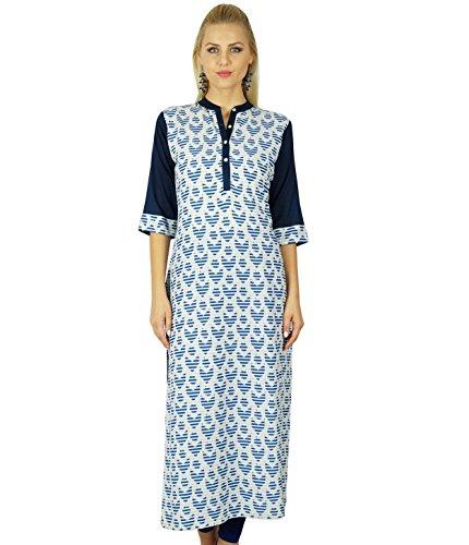 8b1ef160c4672 Bimba Frauen Rayon Gerade Kurti Ethnische Kurta lange Bluse Lässige Top  Tunika Indian Kleidung Blau