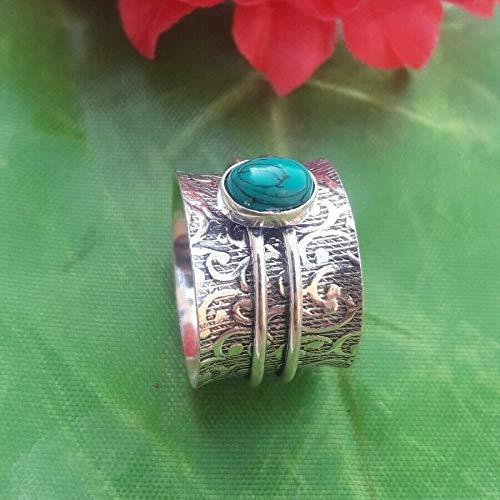 925 Sterling Silber Türkis Spinner Band Ring, Unisex Ring für Weihnachtsgeschenk, Angst Ring, Anti-Depression Ring, schwere Anweisung Ring
