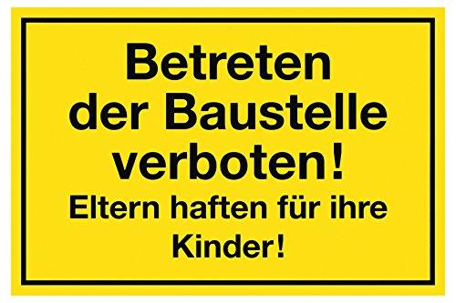 """Metafranc Hinweisschild \""""Betreten der Baustelle verboten!\"""" - 300 x 200 mm / Beschilderung / Verbotsschild / Zutrittsverbot / Privatgrundstück / Baustellenkennzeichnung / Gewerbekennzeichnung / 500230"""