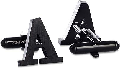 SMARTEON Manschettenknöpfe für Herren   Premium Buchstaben A-Z   Initialen aus hochwertigem Edelstahl in silber & schwarz in hoher Qualität  Elegante Cufflinks in einem edlen Geschenk-Set