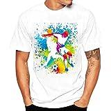 feiXIANG T-shirt manica corta da uomo in cotone t-shirt manica corta da uomo-World Cup Calcio Specific Uniform Maglietta da Uomo Camicie da Uomini Tees Di Stampa Tops (E Bianco, L)