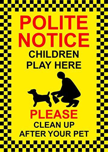 polite-avis-children-play-here-veuillez-nettoyez-apres-votre-chien-avec-inscription