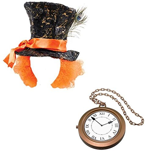 (Mad Hatter Hat and Jumbo Clock Medallion Alice in Wonderland Fancy Dress Kit by Blue Planet Online)