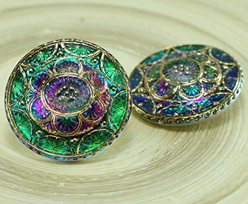 1pc Gold Blume Vulkan Grün Lila Handgemachtes Böhmisches Glas Gewölbt Button Größe 14, 31.5 mm -