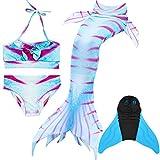Superstar88 2018 Meerjungfrau Schwimmen Schwanz mit Monoflosse, Mädchen Bikini Badeanzug Kostüm Schwanz Sets Kinder Schwimmflossen (Fisch-Muster, 130)