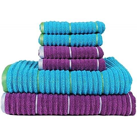 Casa Copenhagen Linea Collezione stecca torsione zero - Combo Set di 6 asciugamani in cotone - 2 asciugamani da bagno e 4 per le mani, qualità 500 g/m², Colore: Sparkling Grape & Hwain