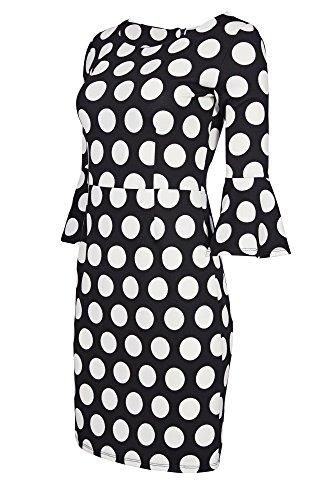Laeticia Dreams Damen Kleid Knielang Trompetenärmel S M L XL, Größe:36.S, Farbe:Schwarz/Weiß Punkte Groß (Größe 36 Damen Kleid)