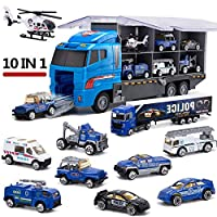 Sue-Supply Police Transport Truck 10 In 1 Toy Trucks Transport Car Toy Set Including a Total of 10 Multi-color Police Cars, Boy And Girl Best Gift for Birthday Party