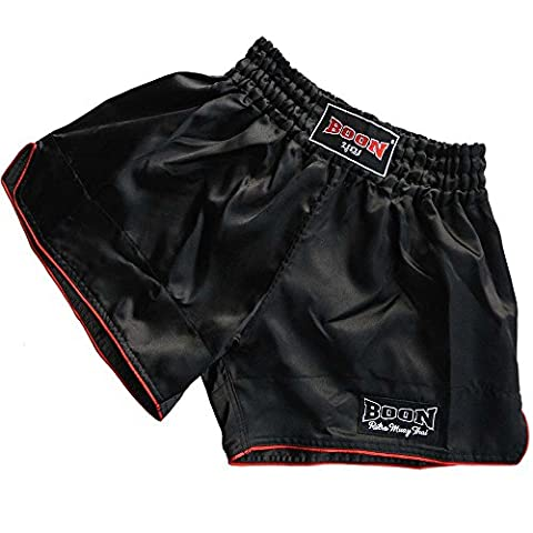 Boon Muay Thai Short, bmts de 200, Retro, noir, courtes, le kickboxing, MMA, satin, m