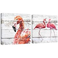 Cuadros De Salon Flamenco Decoracion Rosa Enmarcados Pared Vintage Rusticos Retro Baño Cocina Animales, 30x30