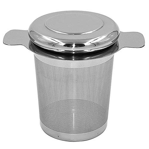 QIND Infusor de Té, Filtro de Té de Acero Inoxidable con Tapa y Doble Asas, Gran Capacidad para Colgar en teteras, Tazas, Tazas para agitar Té y café Suelto