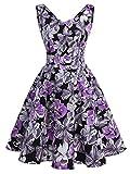 IVNIS RS90031 Damen 50er Vintage Kleid Retro A-Linie Ärmellos Rockabilly Floral Abendkleider mit Taschen Violette Blumen XL