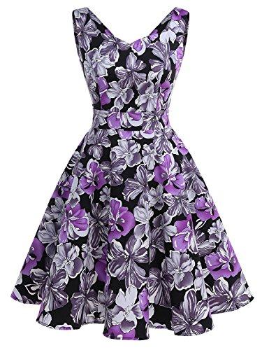 IVNIS RS90031 Damen 50er Vintage Kleid Retro A-Linie Ärmellos Rockabilly Floral Abendkleider mit Taschen Violette Blumen 2XL