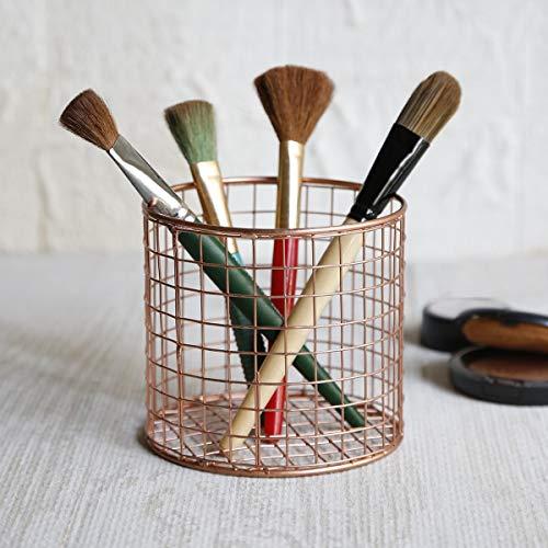 Dekorative Drahtkorb Stifthalter Bleistifthalter Mesh Pantry Organizer Wire Basket Make-up-Palette Pinsel Bad Zubehör Heim und Büro Dekoratives Kupfer-Kollektion für Geschenke -