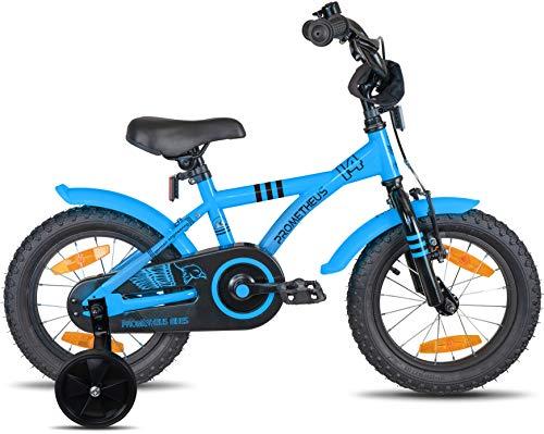 Prometheus Bicicletta per Bambini e Bambine da 4 Anni nei Colori Blu e Nero da 14 Pollici con rotelle e contropedale – BMX da 14″ Modello 2019 - 3