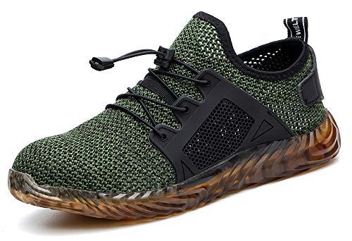 tqgold Scarpe Antinfortunistica Uomo Donna S3 Estive Scarpe da Lavoro con Punta in Acciaio Comode Sneaker Traspiranti(Verde,Taglia 43)