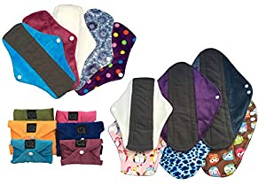 """Regular Flow 5 Packs, Plain or Patterned, Cloth Sanitary Pads (CSP), 25cm long x 9cm wide (9.75"""" L x 3.5"""" W) Bamboo CHARCOAL, Minkee / MINKY, Washable Reusable Period Protection, Menstrual Products, Mama Towel, Sanitary Napkins - Kernow Kloth"""
