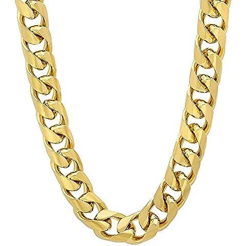9,3 mm, placcati oro 14 k, con catenina maglia barbazzale, rosso cubano - Mens Miami Cubana Link Curb