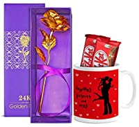TIED RIBBONS Gift for Girlfriend, Husband, Boyfriend, Wife,Girls on Valentines Day(Printed Coffee Mug, Kitkat Chocolates, 24K Gold Plated Rose)