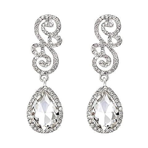 cheng xiao Blumen-Braut-Tropfen-Ohrringe für Frauen-Art- und Weisekleid-Zusätze-löschen Silber
