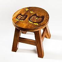 Robuster Kinderhocker/Kinderstuhl massiv aus Holz mit Tiermotiv Eule, 25 cm Sitzhöhe preisvergleich bei kinderzimmerdekopreise.eu