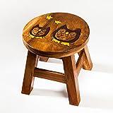 Robuster Kinderhocker/Kinderstuhl massiv aus Holz mit Tiermotiv Eule, 25 cm Sitzhöhe